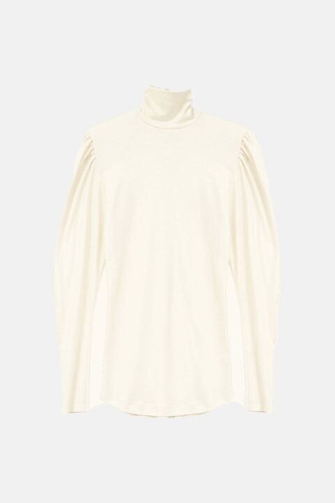 Off-white high collar blouse