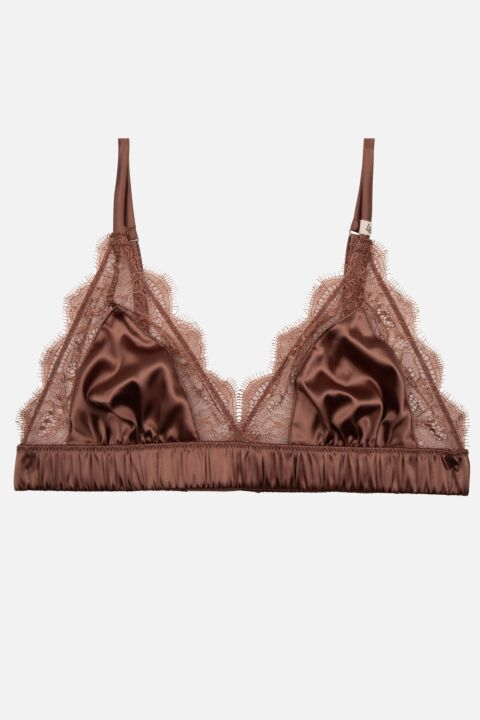 Chocolate brown lace bralette