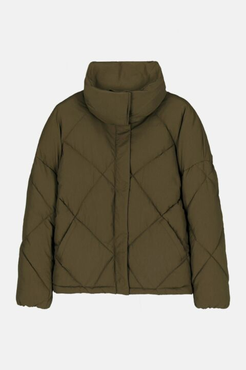 Padded jacket in green nylon