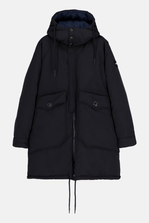Black/blue oversized parka