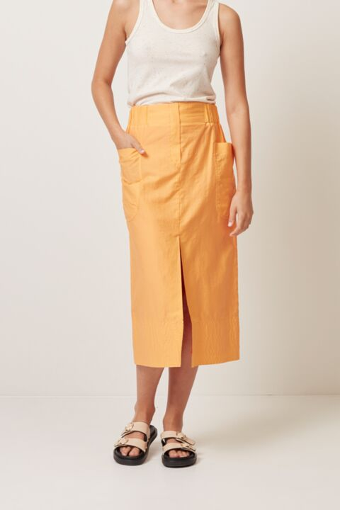 Midi skirt with elastic waist