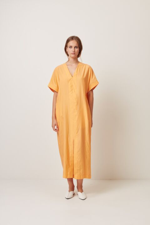 Oversized dress with v-neck