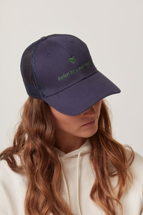 Cap with embroidered text