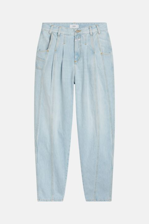 Light blue denim with pleats