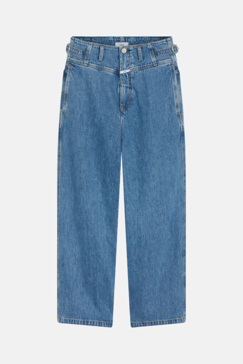 Wide high waist blue denim