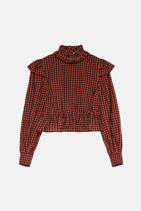 Checked top with turtleneck