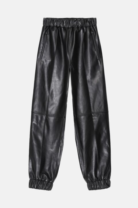 Leather relaxed trousers