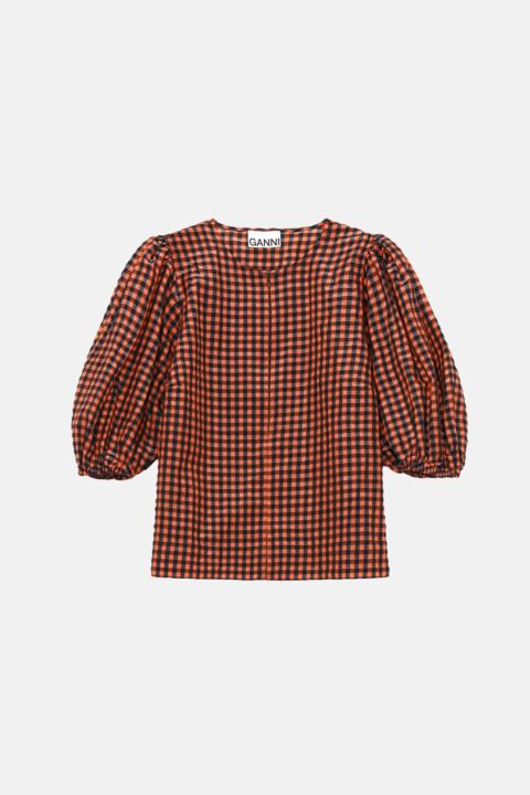 Checked top with puff-sleeves