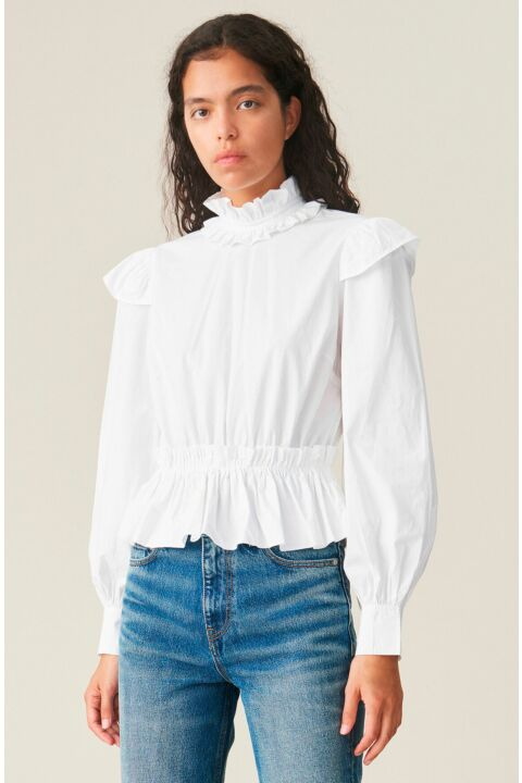 White cropped turtlenecked top