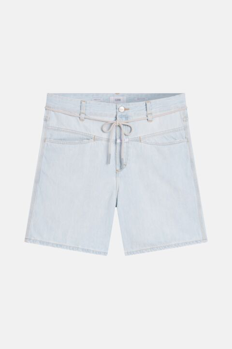 Denim shorts with drawstring