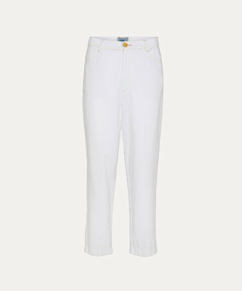 High waist white denim jeans