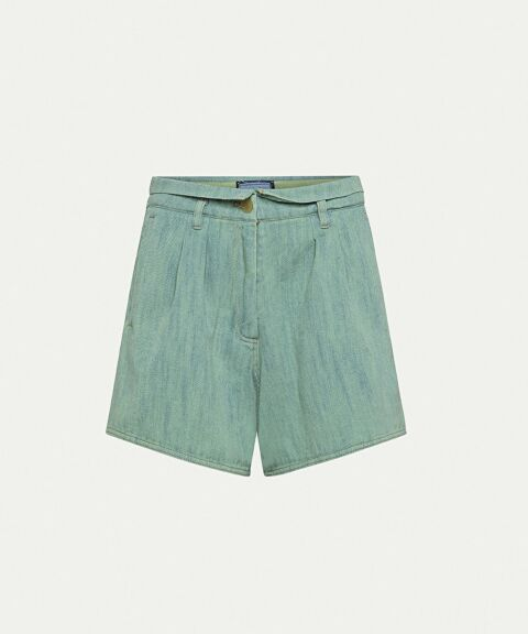 High-waist mint cotton short