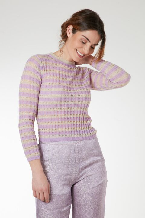 Knitted striped pink jumper