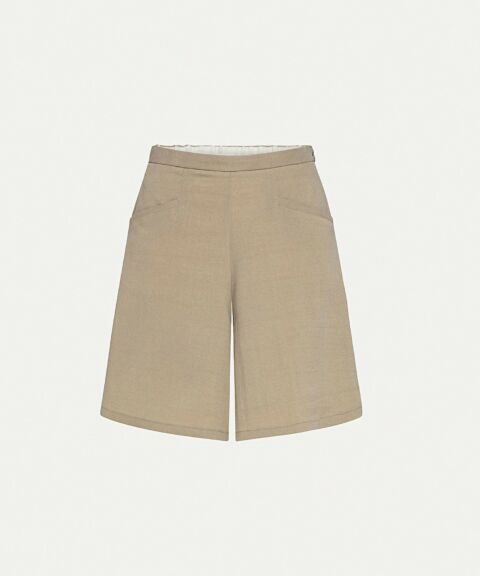 Wide high-waist khaki shorts
