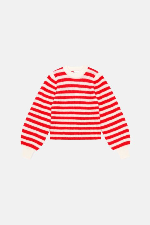 Soft wool knit stripe pullover