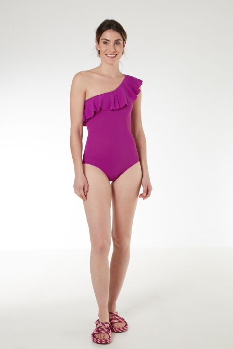 Pink one-shoulder swimsuit