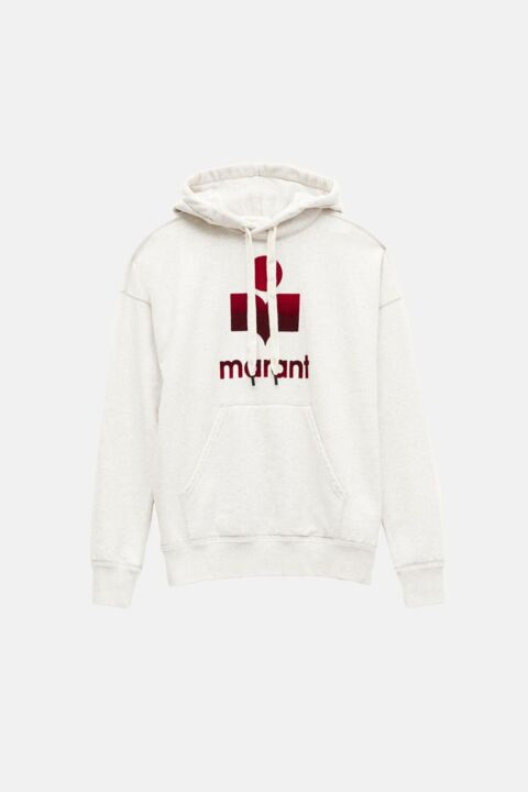 Off-white hoodie with red logo