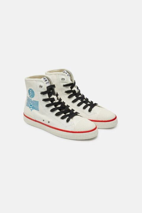 Cotton high top sneakers
