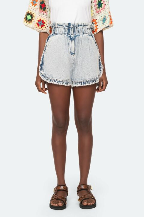 Acid denim shorts