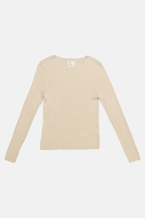 Thin ribbed cashmere beige top