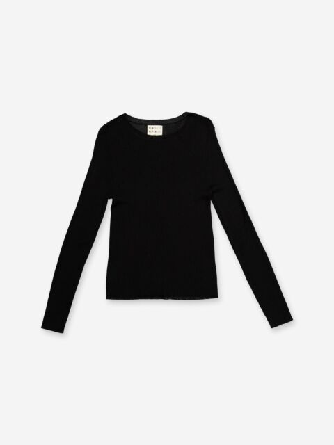 Thin ribbed black cashmere top