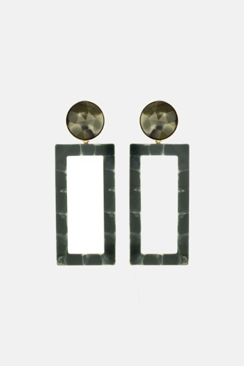 Large khaki rectangle earrings