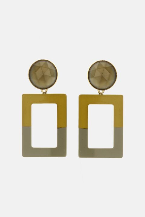 Khaki rectangle earrings