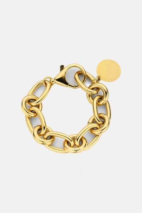 Gold chain bracelet with coin