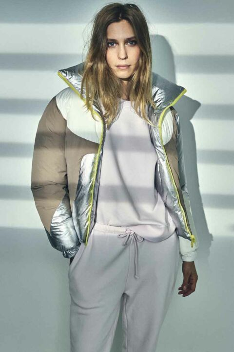 Silver/brown/white puffer coat