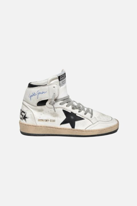 White black high top sneakers