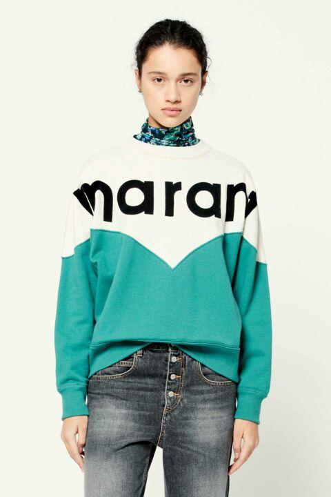 Mint green sweater with logo
