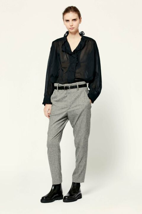 Dark grey fitted trousers