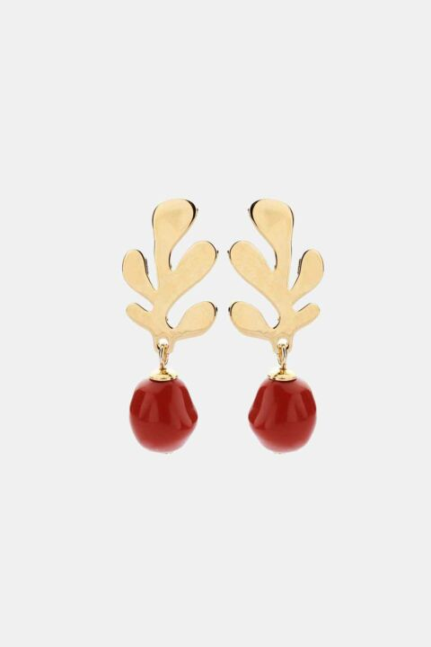 Coral pearl earring