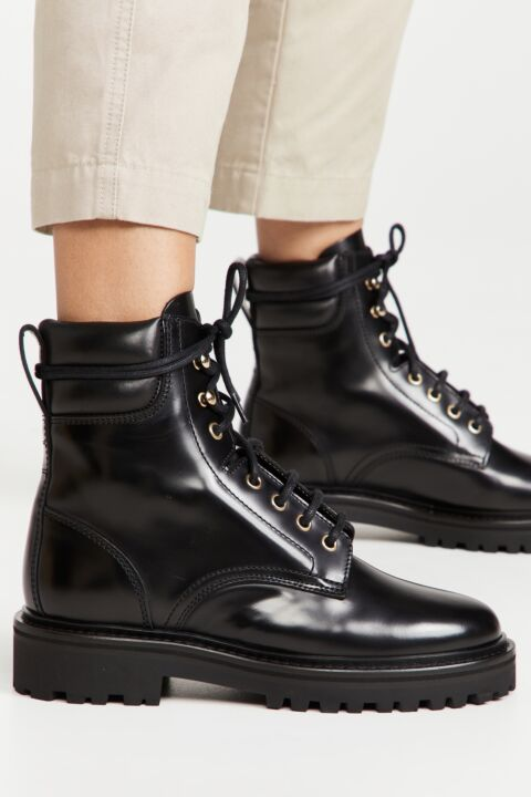 Black leather laced boots